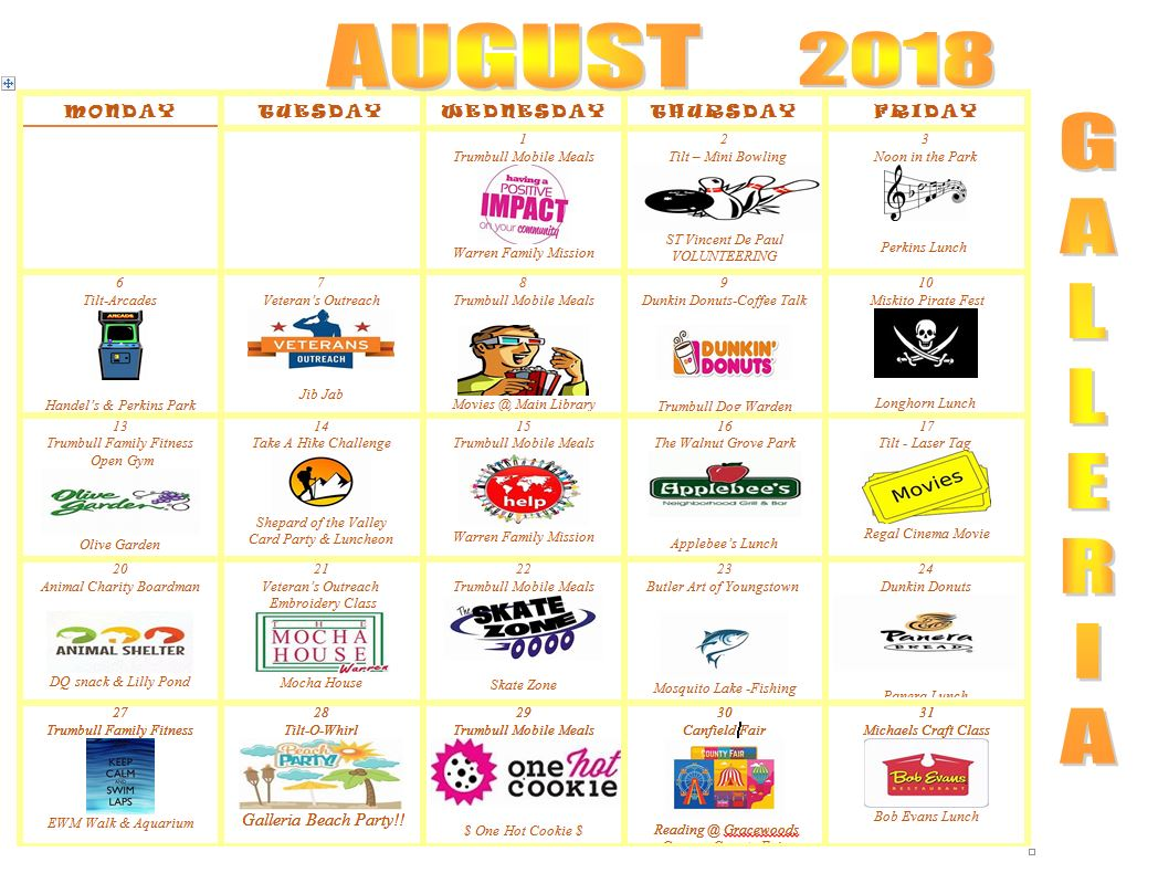 August 2018 Gateways Galleria Activity Calendar