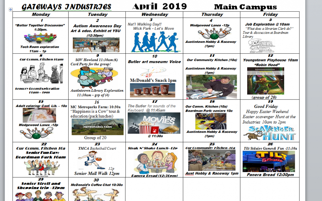 April 2019 Main Campus Activity Calendar