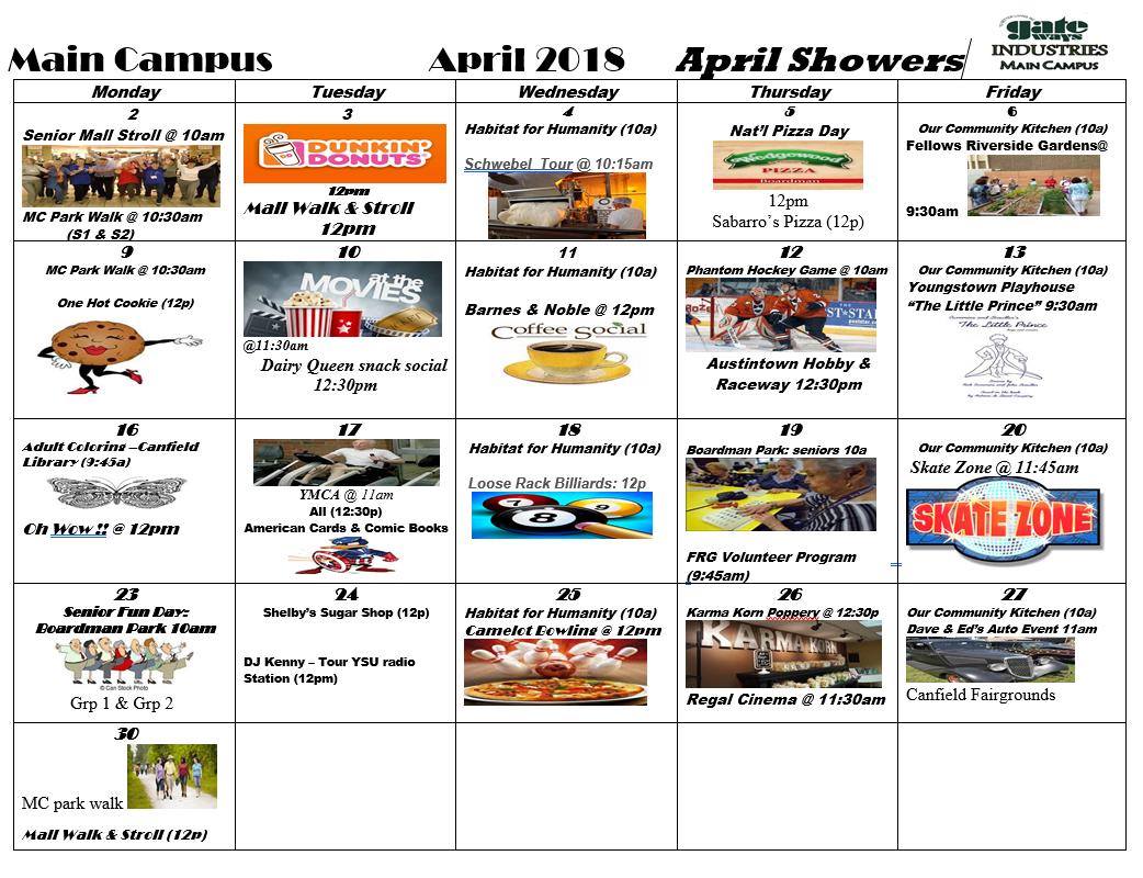 April 2018 Main Campus Activity Calendar