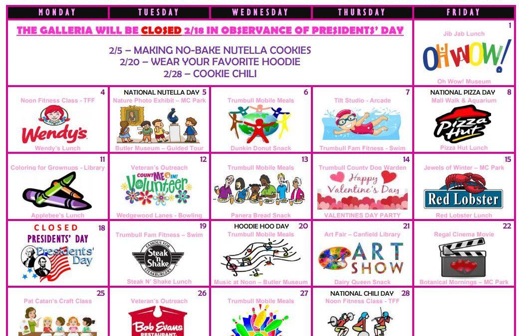 February 2019 Galleria Activity Calendar