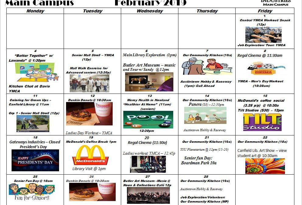 February 2019 Main Campus Activity Calendar